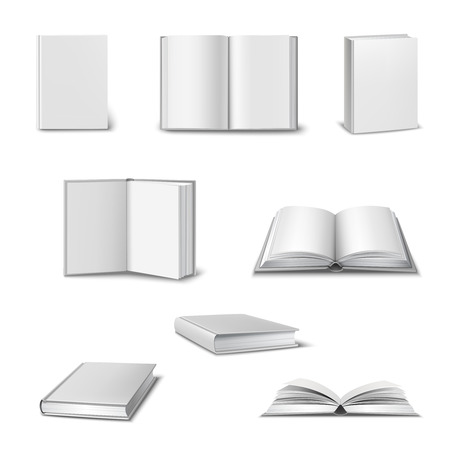 close icon: Realistic set of 3d open and closed books with blank white cover isolated vector illustration Illustration