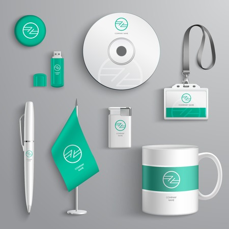 stationery: Corporate identity emerald design stationery collection set isolated vector illustration