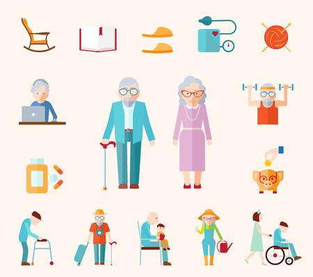 ancianos caminando: Iconos planos de estilo de vida senior establecen con pareja familiar ancianos ilustración vectorial