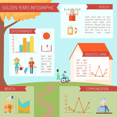 Senior lifestyle infographics with old people health symbols and statistics charts vector illustration