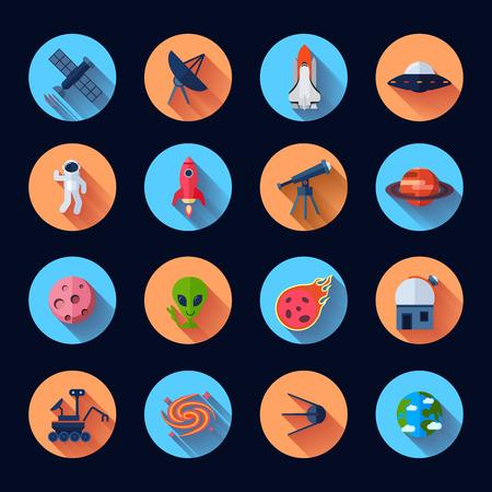 Ruimte iconen platte set met meteoriet raket ruimteschip satelliet geïsoleerd vector illustratie