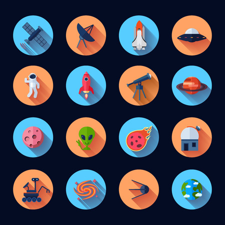 space shuttle: Space icons flat set with meteorite rocket spaceship satellite isolated vector illustration