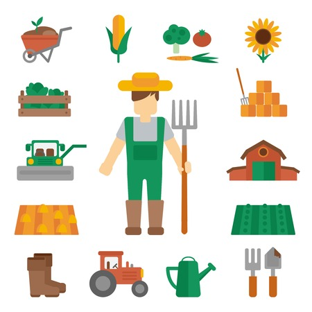 dungarees: Professional farmer man cartoon character standing in uniform green dungarees with hay fork poster flat vector illustration