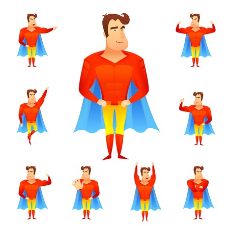 Superhero in red costume and blue cape in different poses avatar set isolated vector illustration