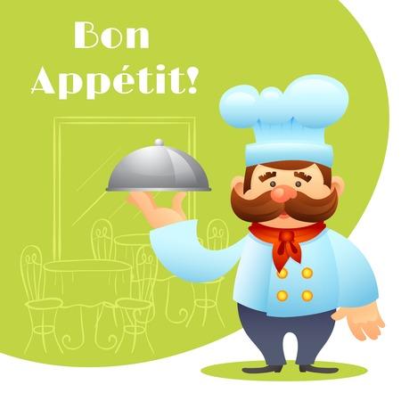 bandeja de comida: Cocinero del cocinero que sostiene el cartel bandeja de comida con restaurante interior en el fondo ilustraci�n vectorial