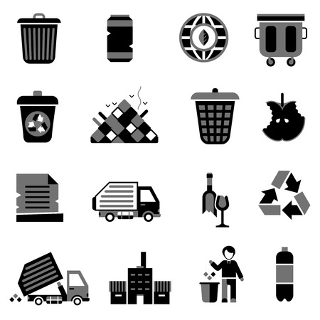 garbage bag: Garbage icons black set with trash can environment ecology waste symbols isolated vector illustration