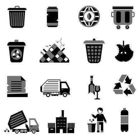 Garbage pictogrammen zwart set met prullenbak milieu ecologie afval symbolen geïsoleerd vector illustratie Stock Illustratie