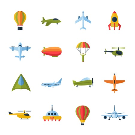 helicopter: Aircraft civil and army cargo transport flat icons set with helicopter jetliner parachute abstract isolated vector illustration