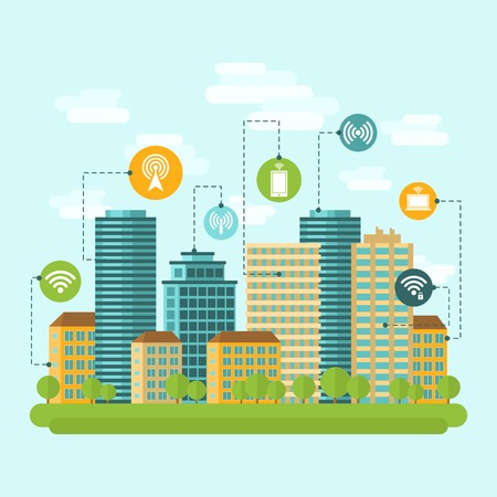 modern residential building: Business centre and residential downtown city area buildings computer wireless internet connection range concept abstract vector illustration