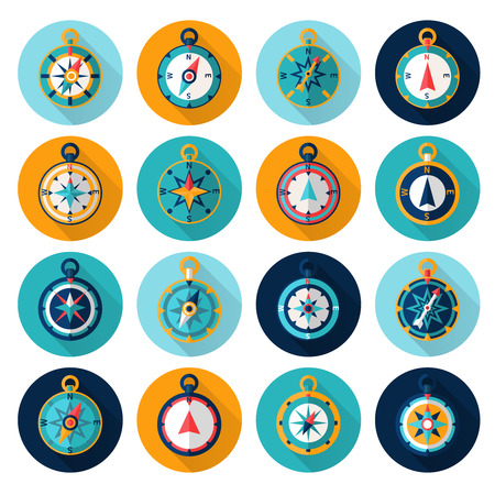 Compass marine orientation navigational instrument icon flat set isolated vector illustration