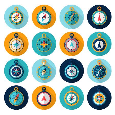 Kompas marine oriëntatie navigatie-instrument symbool flat set geïsoleerd vector illustratie