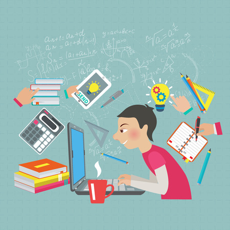 mathematics symbols: Student at notebook computer with mathematics symbols and formula on the background vector illustration