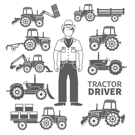 excavate: Tractor driver and farm machines decorative icons black set isolated vector illustration