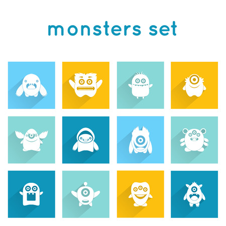 mutant: Monster icons funny mutant animal creature emoticons set isolated vector illustration