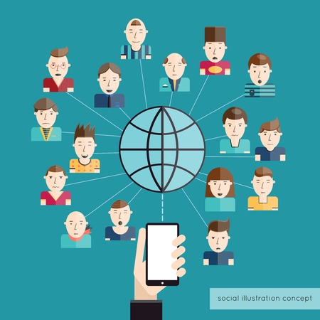 social communication: Social communication concept with people avatars globe and hand with mobile phone vector illustration