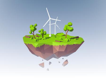 molino viento: Concepto de la ecología con la isla baja poli con molinos de viento árboles y hierba ilustración vectorial
