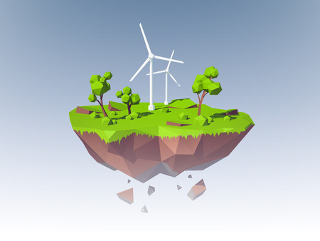 energy save: Ecology concept with low poly island with windmills trees and grass vector illustration