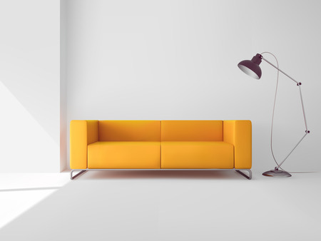 couch: Living room interior with realistic yellow sofa and lamp vector illustration Illustration