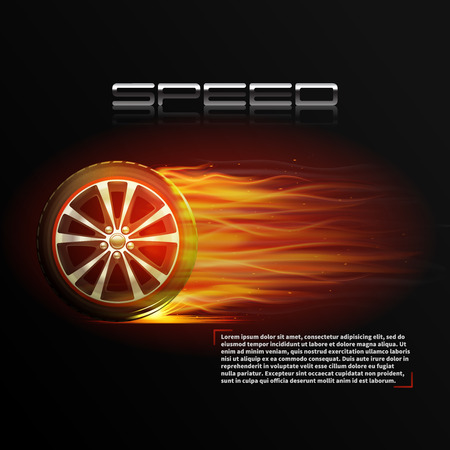 explosion risk: Realistic burning wheel tyre extreme auto sport speed poster vector illustration
