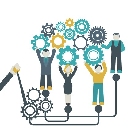 working model: Teamwork company organization concept with people holding cog wheels vector illustration