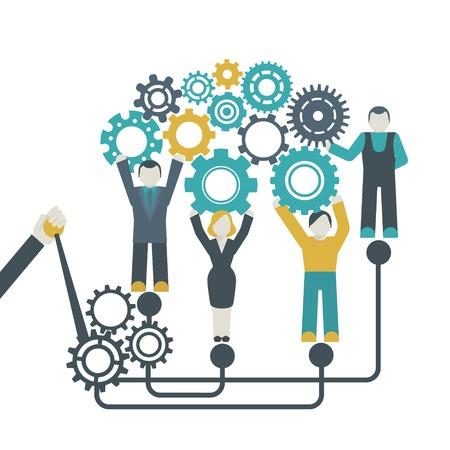 empresas: Trabajo en equipo empresa concepto organizaci�n con personas que tienen ruedas dentadas ilustraci�n vectorial Vectores