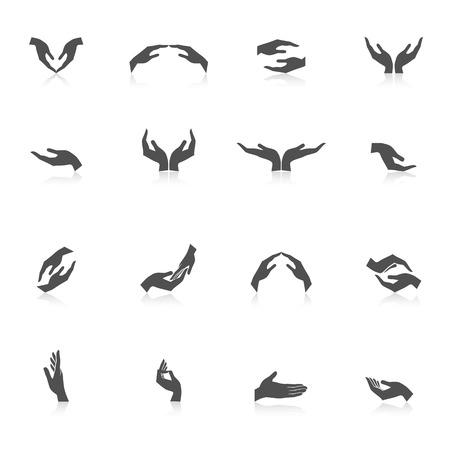 manos aplaudiendo: Asimiento de la mano a proteger espectáculo cuidado dar gestos negro icono conjunto aislado ilustración vectorial Vectores