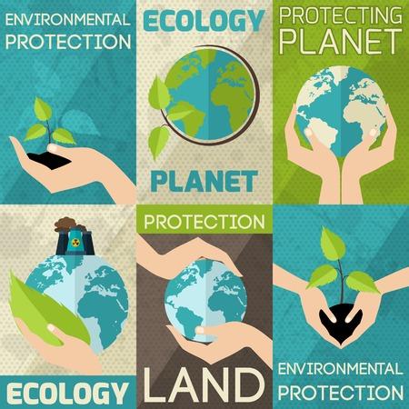손 잡고 식물과 세계 환경 보호 미니 포스터 세트 고립 된 벡터 일러스트 레이 션 일러스트