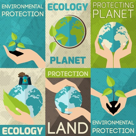 protection symbol: Hand hold plants and globe environmental protection mini poster set isolated vector illustration