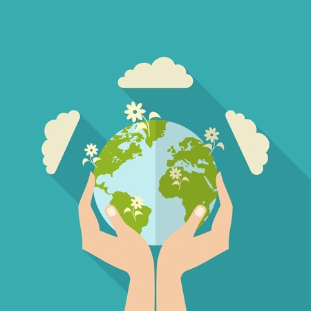 Human hands holding globe with flowers on it environmental care and social responsibility flat poster vector illustration