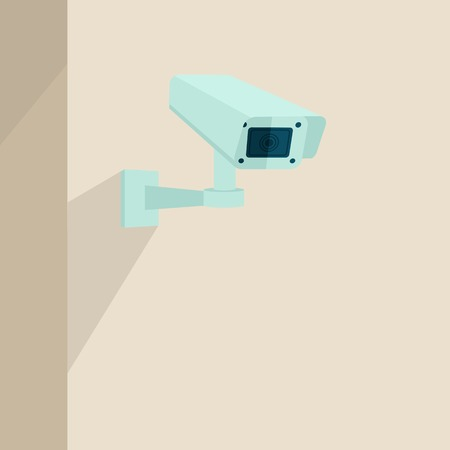 security technology: Security camera on the wall video surveillance equipment technology background vector illustration