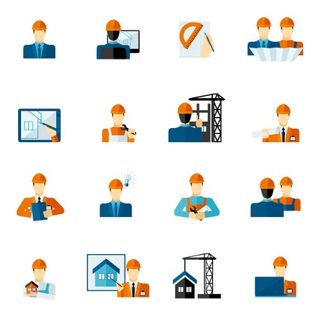 mobile operators: Engineer factory manufacturing service worker icons flat set isolated vector illustration