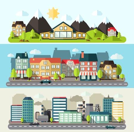 horizontal lines: El centro industrial y banner horizontal ciudad urbana establecen plana aislado ilustración vectorial