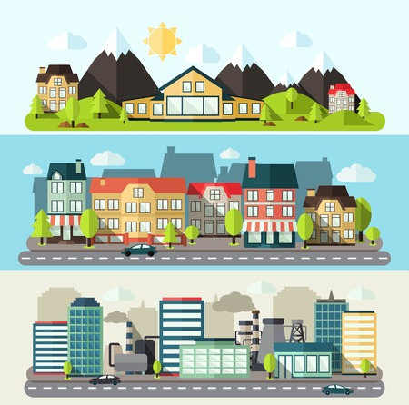 panorama city panorama: Industrial downtown and urban city horizontal banner flat set isolated vector illustration