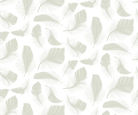 plumage: White bird light feather plumage seamless pattern background vector illustration