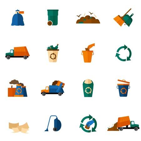Iconos de basura plana establecen con aislados topadora limpieza de depósitos de basura ilustración vectorial