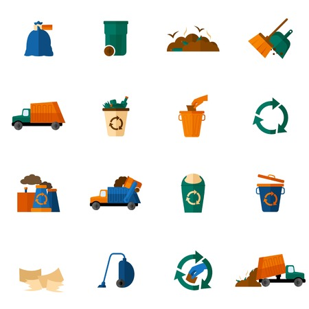 cesto basura: Iconos de basura plana establecen con aislados topadora limpieza de depósitos de basura ilustración vectorial