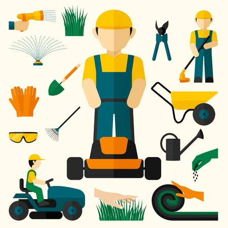 mower: Man with lawn mower and garden equipment decorative icons set isolated vector illustration
