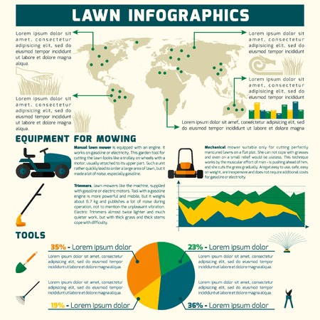 mowing the lawn: Lawn infographic set with mowing equipment and tools symbols and charts vector illustration