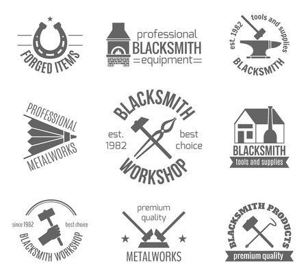 blacksmith: Blacksmith workshop equipment and professional metalworks label set isolated vector illustration