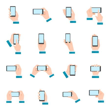 Human hands holding mobile phone gestures flat icon set isolated vector illustration