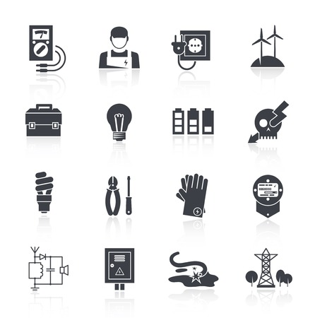 electricity pylon: Electricity icon black set with toolbox lamp charge warning sign isolated vector illustration