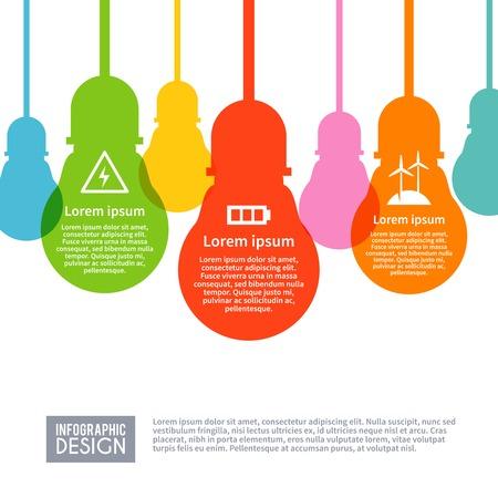 electricidad: Infograf�a Electricidad establecen con s�mbolos de la industria de energ�a de potencia en bombilla plana colecci�n ilustraci�n vectorial