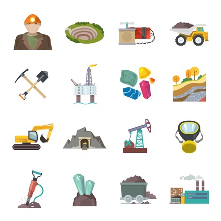 sifting: Coal diamond gold mining icons flat set isolated vector illustration