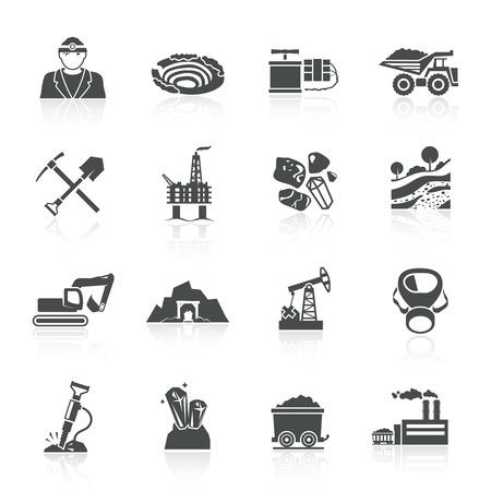 camion minero: Miner�a iconos conjunto negro con casco aislado martillo tierra l�mpara motor ilustraci�n vectorial