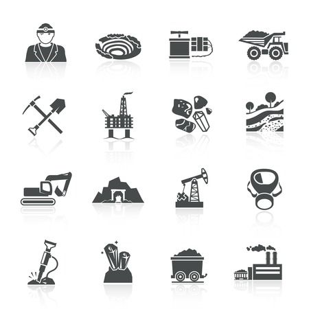 mining: Mining icons black set with hammer helmet lamp earth mover isolated vector illustration