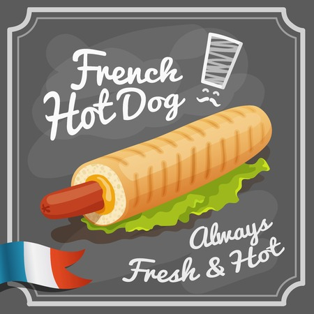 French hot dog retro fast food restaurant fast food promo poster vector illustration Vector
