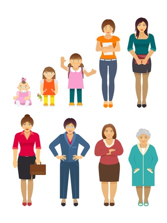 aging woman: Women generation growing stages flat avatars set isolated vector illustration
