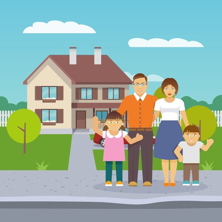 big family: Happy family with parents and boy and girl children in front of the house flat vector illustration Illustration
