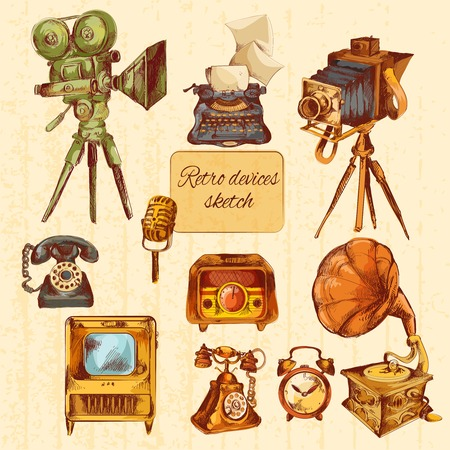 film tape: Retro devices sketch colored decorative icons set with microphone tv gramophone isolated vector illustration