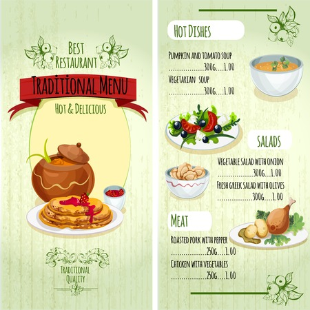 soup and salad: Traditional food premium restaurant menu template with hot dishes salads and meat vector illustration